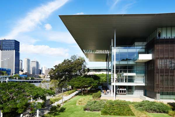 Goma's cantilevered roof shades and its gardens