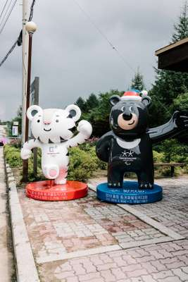 Winter Olympics mascots Soohorang (left) and Bandabi