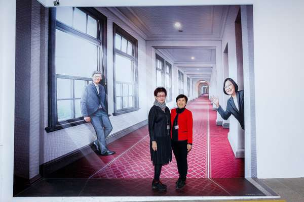 Photo op in front of a cut-out of Tsai and  her vice-president