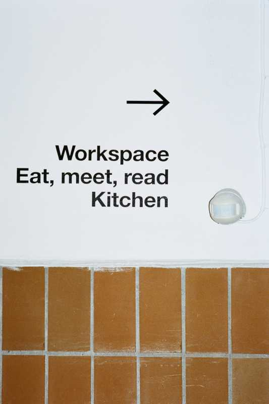Housed in a former fish factory, Space10's upper floor contains a workspace and kitchen