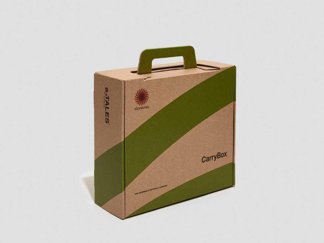 Box made from renewable, recyclable materials.  storaenso.com