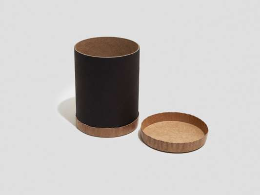 Extra-strong canister made entirely from recycled paper.  nagelpaper.com