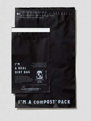 Opaque compostable jiffy bag in two sizes. betterpackaging.com