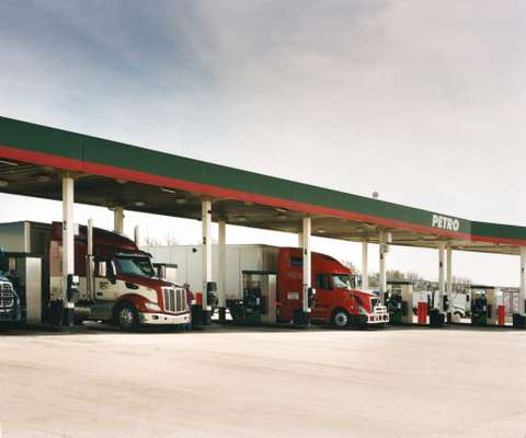 It's a tight squeeze at the fuel island at Trail's Travel Center