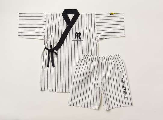 "Summer wear: pinstriped ""jinbei"" for children"