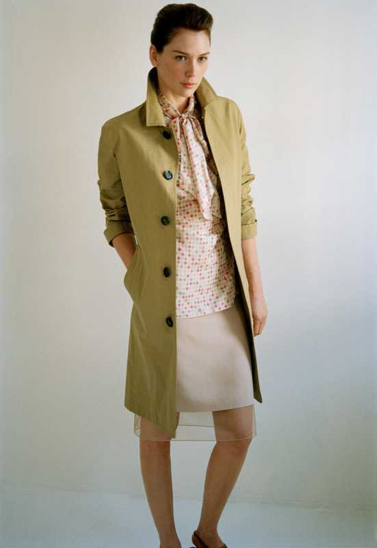 Coat by Burberry Prorsum, blouse by Kiton, skirt by Akris