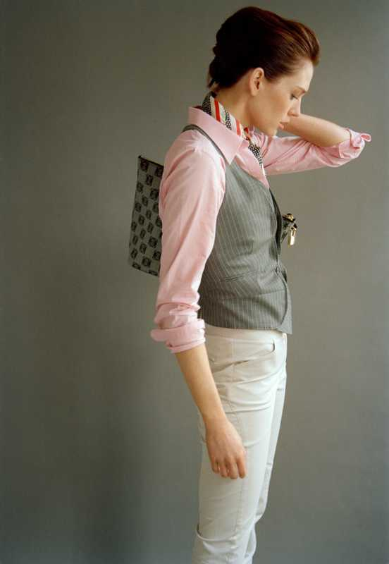 Shirt by Lauren By Ralph Lauren, scarf by Paul Smith, waistcoat by Paul Smith Black, trousers by Bamford,  bag by Loewe