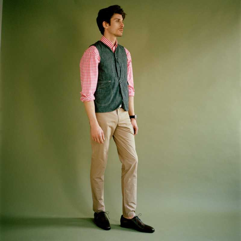 Waistcoat by Post Overalls, shirt by Hackett,   trousers by Aquascutum, shoes by Berluti, belt by Trussardi 1911, watch by Cartier