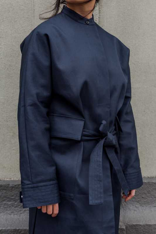 Navy coat dress