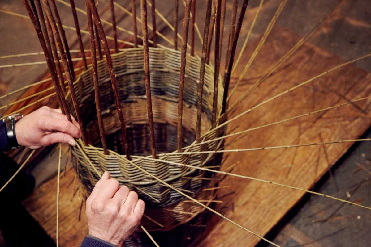 Traditional skills being used to weave willow baskets