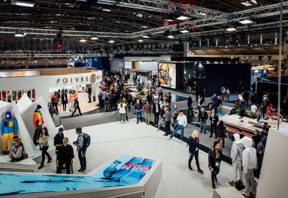 View from the top of the Colmar stand in B1, the hall home to luxury sports brands