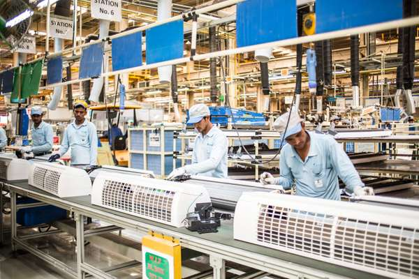 Assembly line of air conditioners at the Daikin factory