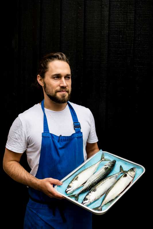 Chef Will Verdino with some fresh mackerel