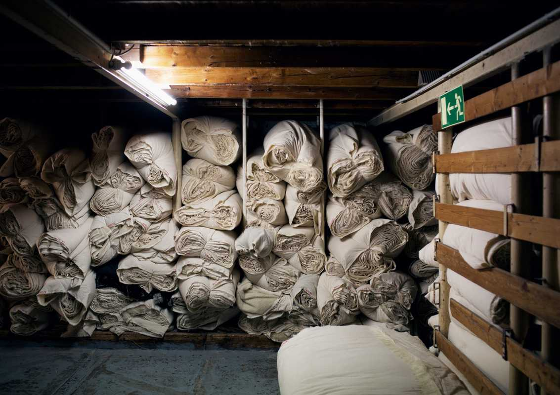 Stockroom where the most important fabrics are stored