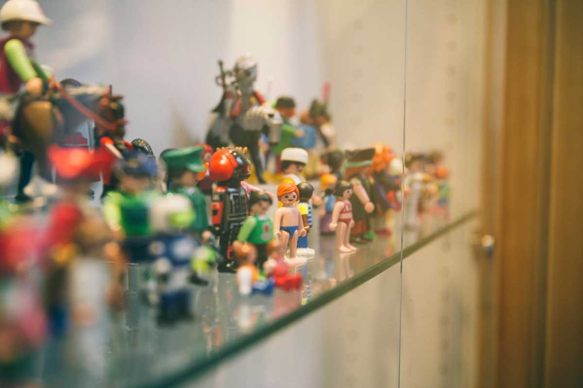 One of many display cases in the office