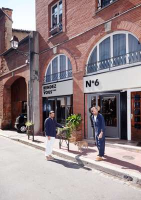 Marc Llorens (left) and Olivier Salette outside the menswear shop