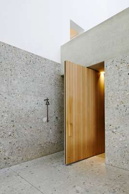 Warm timber offsetting the stone
