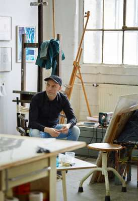Sebastian Burger in his studio in the Spinnerei