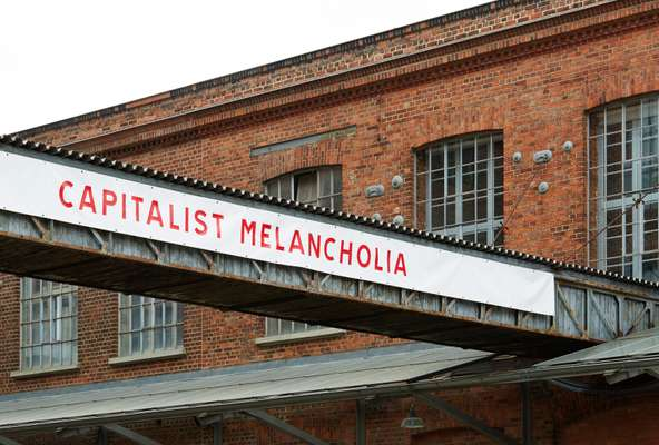 The Spinnerei's grounds: 'Capitalist Melancholia': is an exhibit in Hall 14