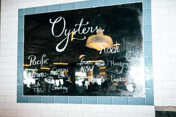 Oyster menu includes Sydney Rock and Pacific oysters from Tasmania, South Australia and New South Wales