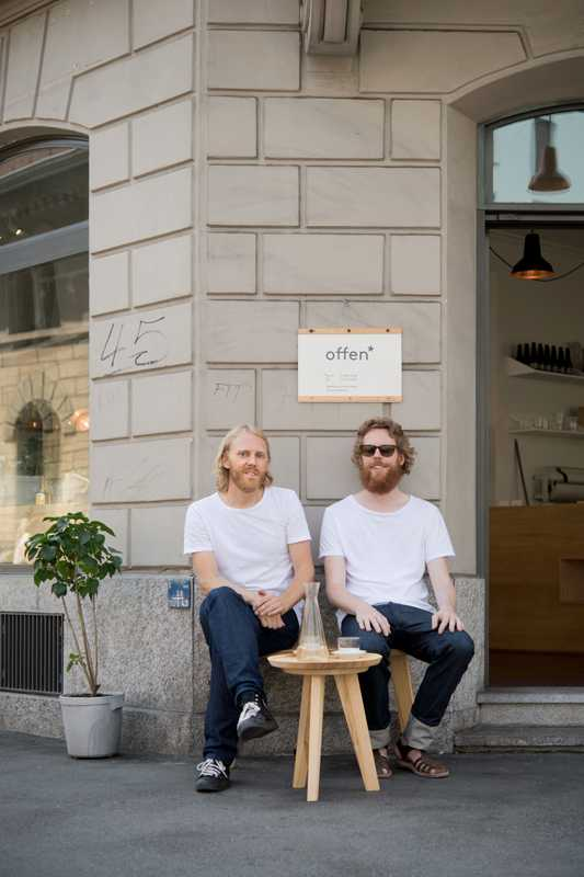 Karl Westbom (left) and Johan Olzon outside their shop, Soeder