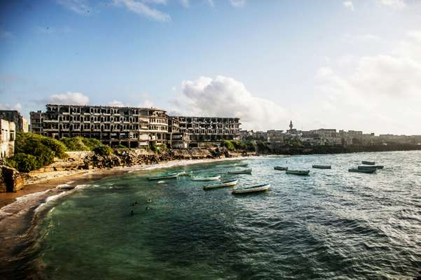 Mogadishu's coastline with its war-ravaged buildings