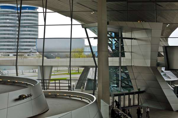 BMW Welt, by Coop Himmelb(l)au architects, with the BMW museum and towers in the background