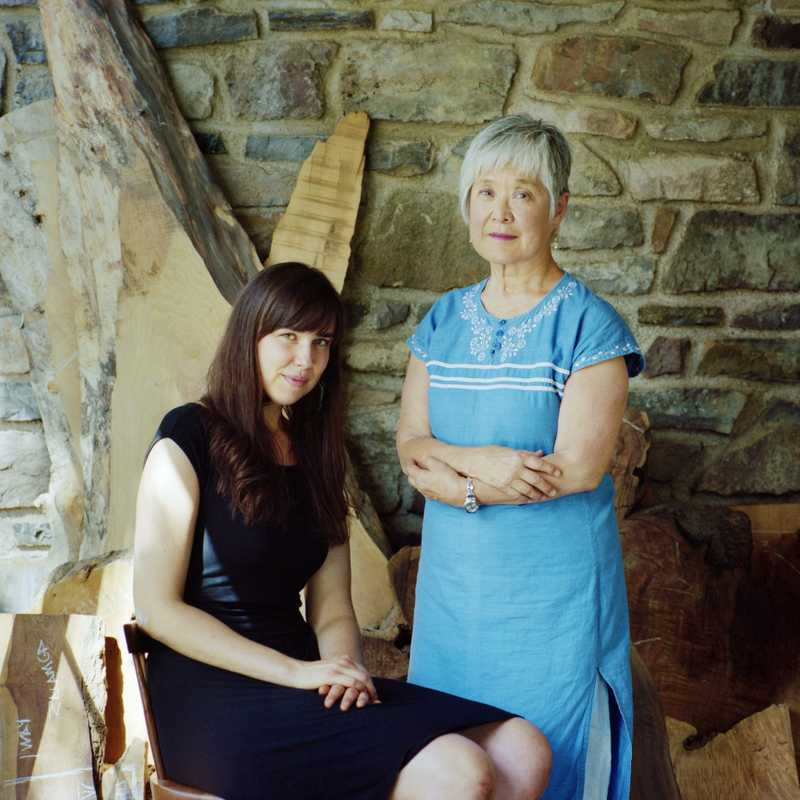 Miriam Carpenter and Mira  Nakashima in the studio