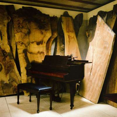 Piano and wood slabs in the arts building