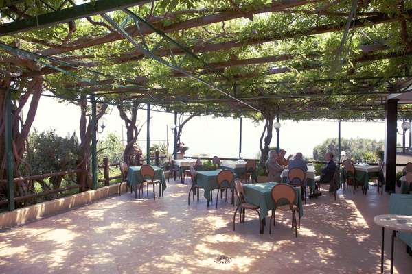 The vine-infested terrace at Ristorante Rosiello