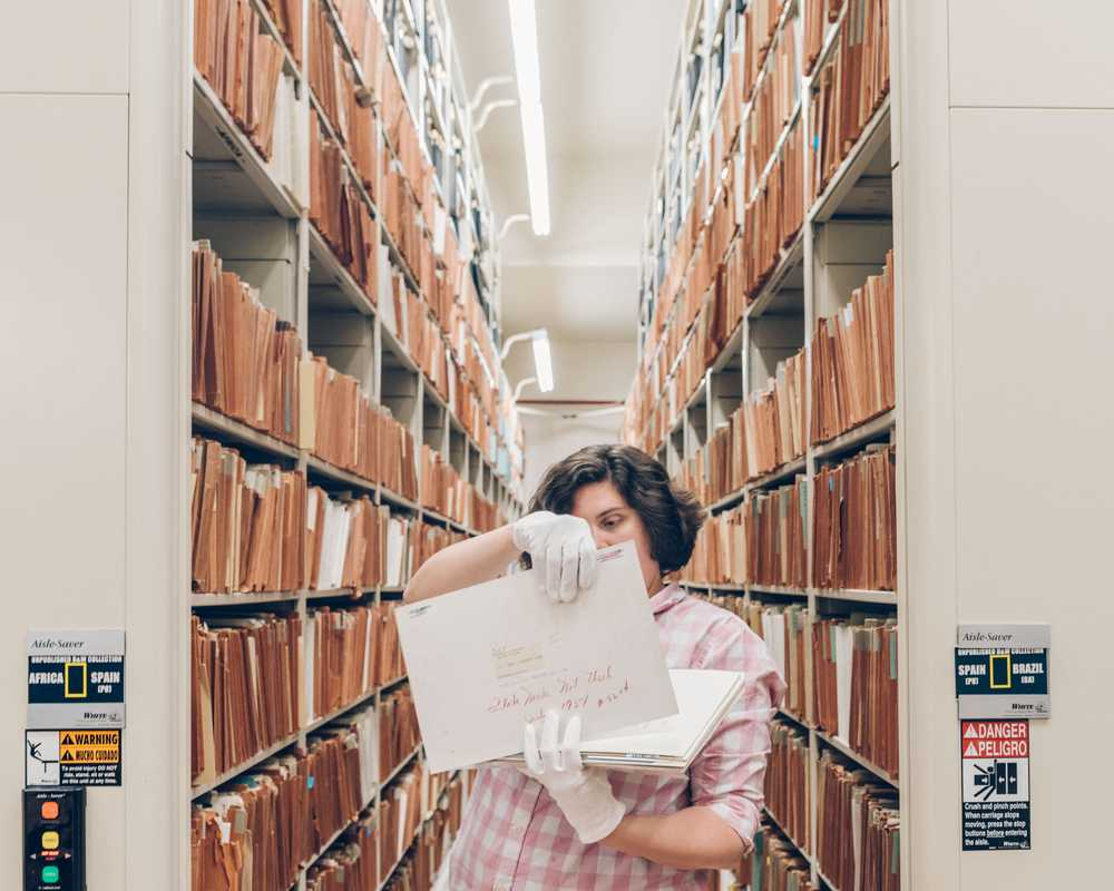 Archivist Rebecca Dupont in National Geographic's basement archives