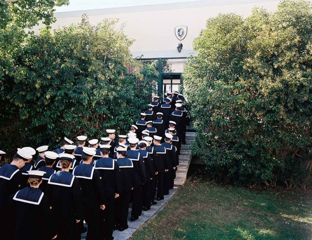 Lunch time at the naval academy; form an orderly queue