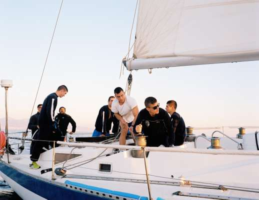 Students in a sailing class