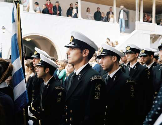Merchant marine students parade on 28 October
