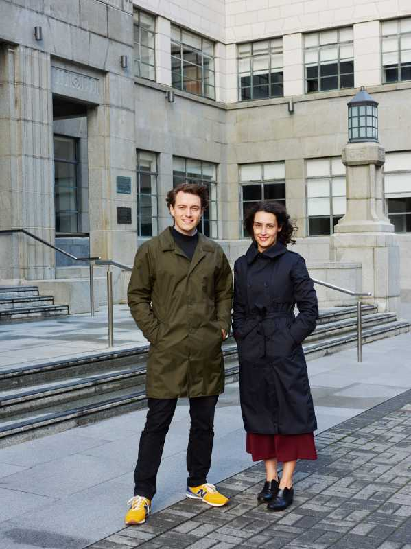 Nick and Nevada Leckie wearing coats from their brand Okewa
