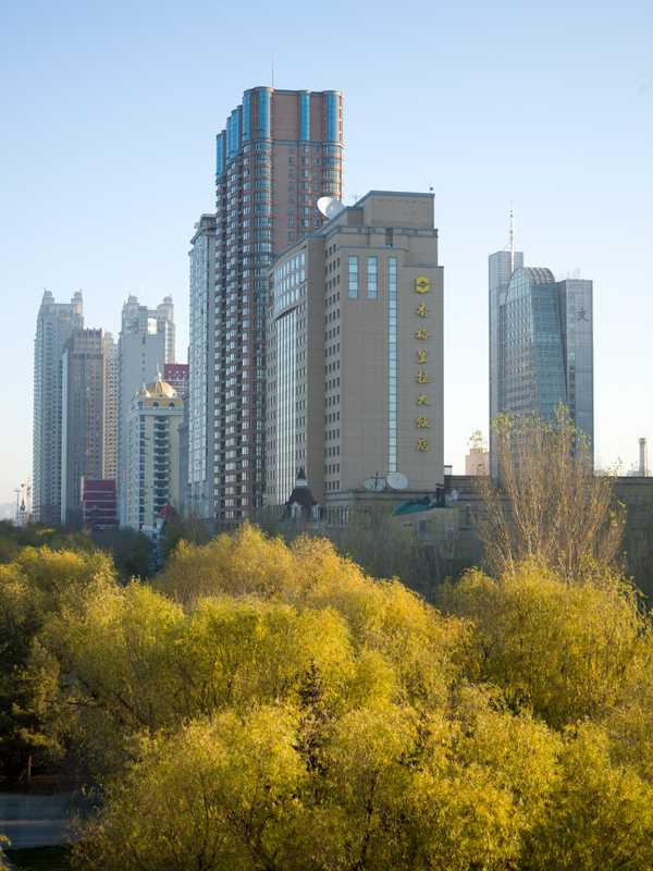 Harbin skyscrapers, including the local Shangri-La Hotel