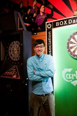 Hip-hop dance instructor Xiao Tian in the darts' room at Box Town