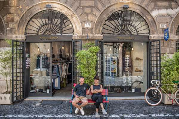 Donato and  Livia in front of Officine Red