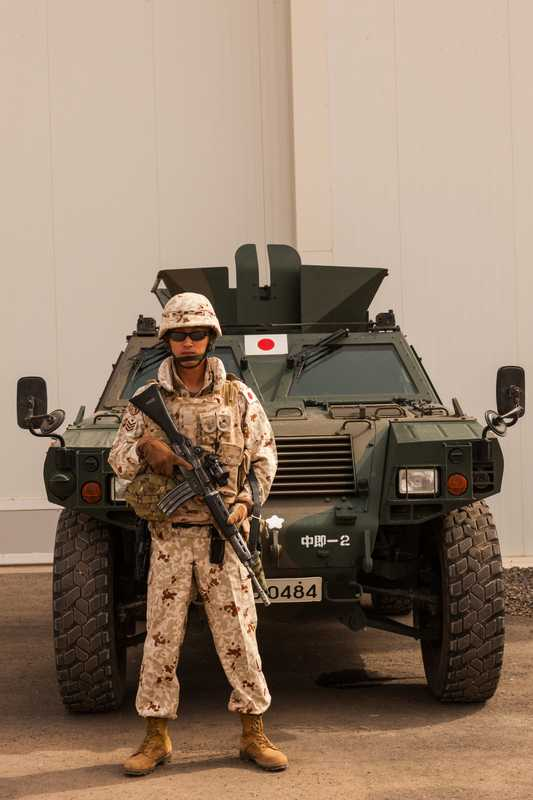 Japanese soldier on guard at the Counter-Piracy Enforcement base of the Japan Self-Defence Forces