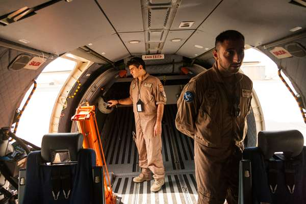Maj Victor Sobrino of the Spanish airforce climbs into a Vigma patrol plane
