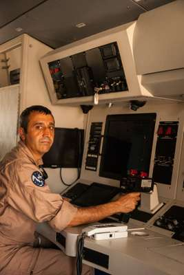 Spanish Vigma console operator Julian Algar Villaba, a regular  on the mission's eight-hour patrols over the Indian Ocean