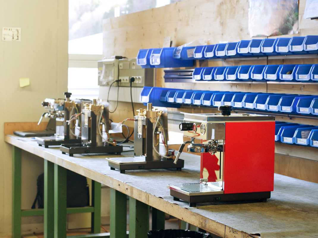 Machines in various stages of production