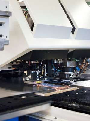 Cutting: metal sheets and rods are laser-cut to shape by a TruMatic 6000