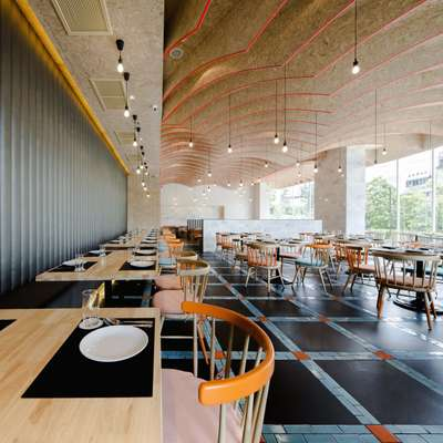 Laem Charoen seafood restaurant boasts a contemporary colour scheme
