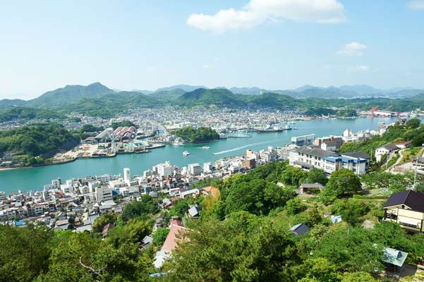 View over Onomichi towards the Seto Inland Sea