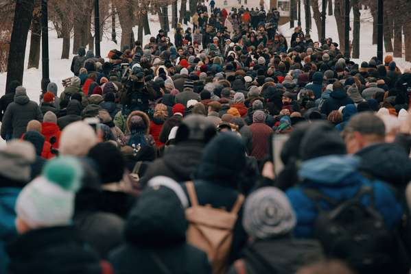 Protesters filling a Moscow boulevard