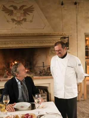 Angeloni with chef and restaurant owner Massimo Spigaroli
