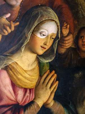 The partially cleaned face of the Virgin Mary, Fabrizio Santafede, late 16th Century