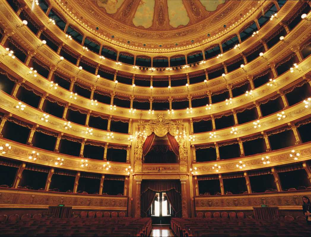 The opera house's neoclassical auditorium