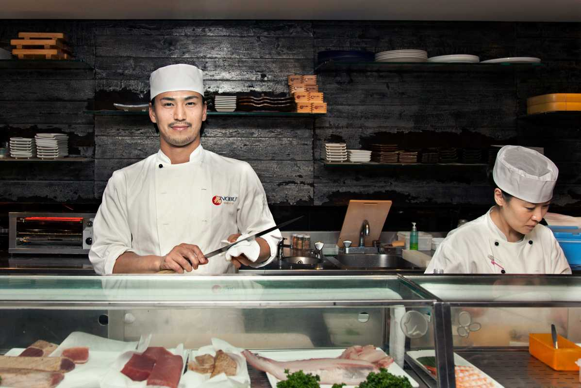 Masters at work behind the sushi bar